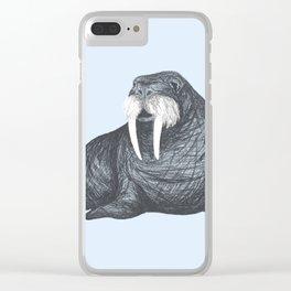 Frank Wallace in Blue | Nursery Art Walrus Drawing Clear iPhone Case