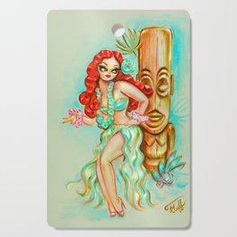 Redhead Hula Girl with Tiki Cutting Board
