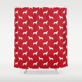 Husky dog pattern simple minimal basic dog silhouette huskies dog breed red and white Shower Curtain