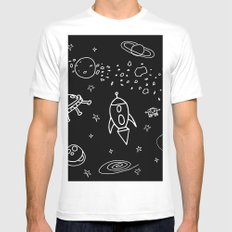 Space MEDIUM Mens Fitted Tee White