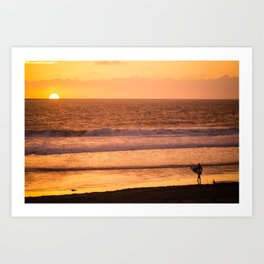 Surfer watching sunset in Southern California Art Print