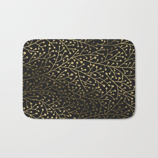Gold Berry Branches on Black Bath Mat