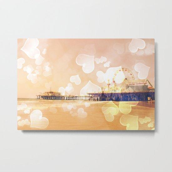 Bokeh Hearts Santa Monica Pier Metal Print