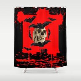 BAT INFESTED HAUNTED SKULL ON BLEEDING RED ON RED  ART Shower Curtain