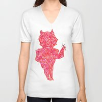 devil V-neck T-shirts featuring Devil by Guice Mann