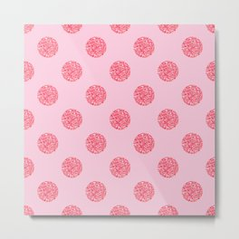Pink Glitter Polka Dot Pattern Metal Print