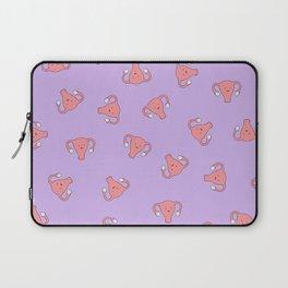 Crazy Happy Uterus in Purple, Large Laptop Sleeve