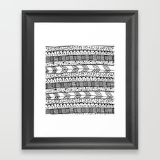 Chic black white hand drawn tribal pattern Framed Art Print