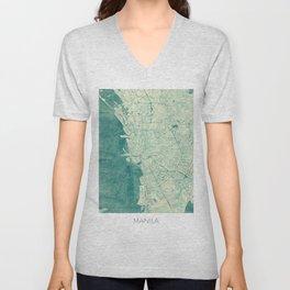 Manila Map Blue Vintage Unisex V-Neck