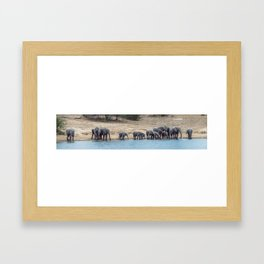 Elephant Panorama: Family at the Watering Hole Framed Art Print