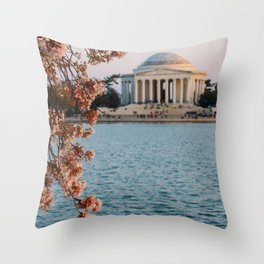 Cherry Blossoms at the Jefferson Throw Pillow