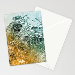 Cape Town South Africa City Street Map Stationery Cards