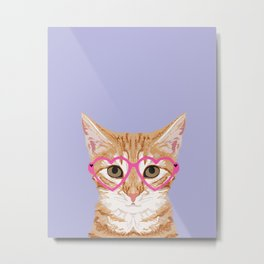 Mackenzie - Orange Tabby Cute Hipster Glasses Kitten Lavender Pastel Girly Retro Cat Art cell phone Metal Print