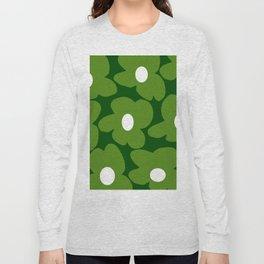 Spring Green Retro Flowers Dark Green Background #decor #society6 #buyart Long Sleeve T-shirt