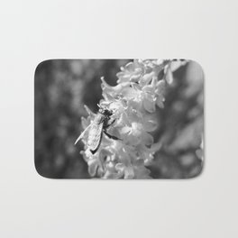 Bee2 and Blood Currant Ribes Sanguineum bw Bath Mat