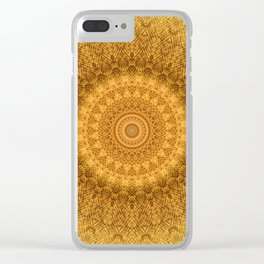 Sunflower Feather Bohemian Sun Ray Pattern \\ Aesthetic Vintage \\ Yellow Orange Color Scheme Clear iPhone Case