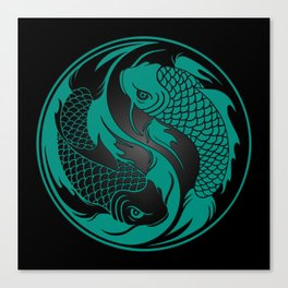 Teal Blue and Black Yin Yang Koi Fish Canvas Print