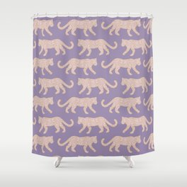 Kitty Parade - Pink on Lavender Shower Curtain