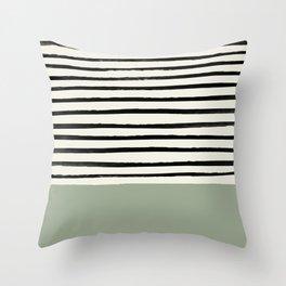 Sage Green x Stripes Throw Pillow