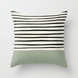 Sage Green x Stripes Throw Pillow