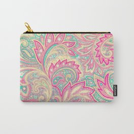 Pink Turquoise Girly Chic Floral Paisley Pattern Carry-All Pouch