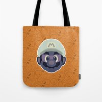 mario Tote Bags featuring Mario by Kuki