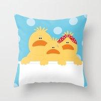 ducks Throw Pillows featuring Ducks by SANTA