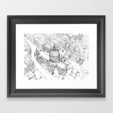 Aerial Drawing of St.Paul's Cathedral, London Framed Art Print