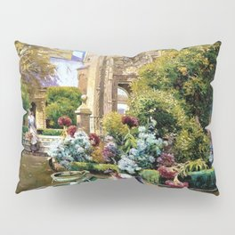 The Gardens of the Royal Alcazar, Seville, Spain by Manuel Garcia y Rodriguez Pillow Sham