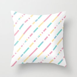 Soft colors diagonally cutted stripes pattern Throw Pillow