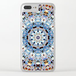 Blue Brown Folklore Texture Mandala Clear iPhone Case