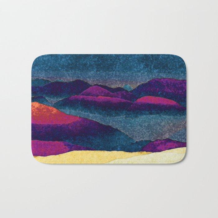 Colorful Mountains Landscape Bath Mat