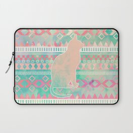 Whimsical Cat, Pink Turquoise Girly Aztec Pattern Laptop Sleeve