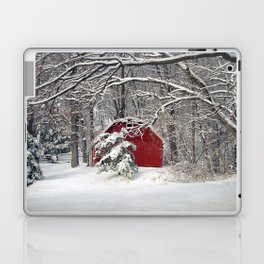 Red Barn in the Snow Laptop & iPad Skin