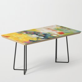 abstract floral art in yellow green and rose magenta colors Coffee Table
