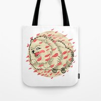 pomeranian Tote Bags featuring Pomeranian in Autumn by Jack Haughey