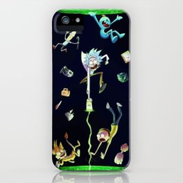 Rick & Morty fall in a portal iPhone Case