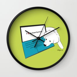 Techie Great Pyrenees Puppy Wall Clock