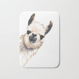Sneaky Llama White Bath Mat