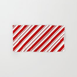 winter holiday xmas red white striped peppermint candy cane Hand & Bath Towel