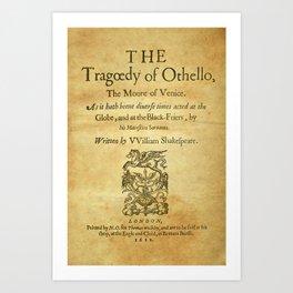 Shakespeare. Othello, 1622. Art Print
