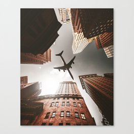 airplane in manhattan Canvas Print