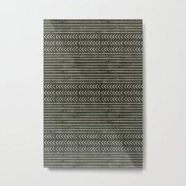 arrow stripes - cream on dark olive Metal Print