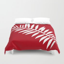 PALM LEAF RED AND WHITE PATTERN Duvet Cover
