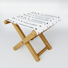 black and white dots and dashes boho modern Folding Stool
