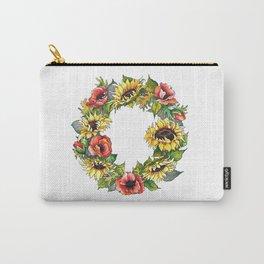 Sunflower Poppy wreath Carry-All Pouch