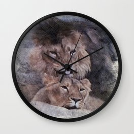 Lions in Love Wall Clock
