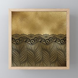 Black floral luxury lace on gold effect metal background Framed Mini Art Print