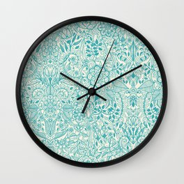 Detailed Floral Pattern in Teal and Cream Wall Clock