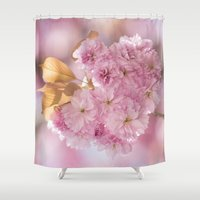 japanese Shower Curtains featuring Japanese cherryblossoms in LOVE by UtArt